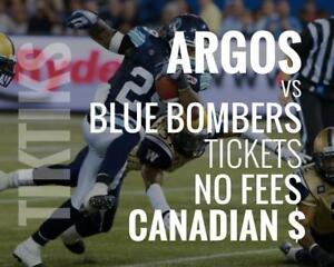 Argonauts vs Blue Bombers Tickets July 21 BMO Field. Canadian $, no fees, awesome customer, local company!