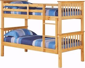 Wooden Bunk Bed Frame + 2 Mattresses -- Cheapest Price -- Same Day Delivery