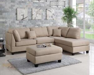 Urban Cali San Francisco Sand Linen Sectional Sofa with Reversible Chaise and Ottoman in Canada