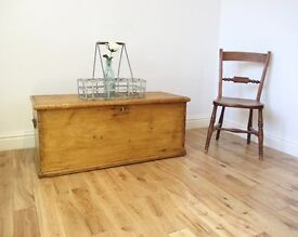 Late Victorian Pine Storage Chest / Coffee Table / Blanket Box