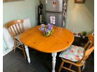 Shabby chic dining table with two chairs