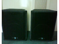 Pair quality 1x15 PA speakers plus stands. Concert Systems / Adlib Audio. Cabs, cabinets, monitors.