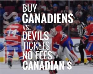 Habs vs Devils tickets Dec 14th! We're like Ticketmaster/StubHub but no fees, CA$, cheaper. 5% off for new customers!