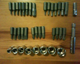 Assorted metric sockets and bits, torx, allen etc. Mechanic, garage, bicycle, bike, tools.
