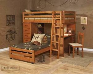 FREE Delivery in Vancouver! Pine Twin Over Twin Loft Bed In Amber Wash!