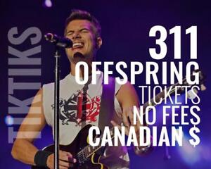 311 & Offspring Aug 28th in Toronto Cheaper than Ticketmaster, no fees, 100% guaranteed! Canadian company selling in CA$