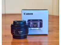 Canon EF 50mm 1.8 STM lens with Hoya UV(c) Filter and Box