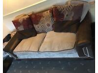 Brown and beige 3 seater sofa