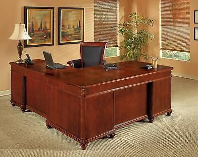 Cherry Wood L Shaped Executive Desk Bun Feet Parquet Desktop Office Furniture