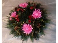 Handmade Christmas Holly wreaths in Pink on 9 inch moss base