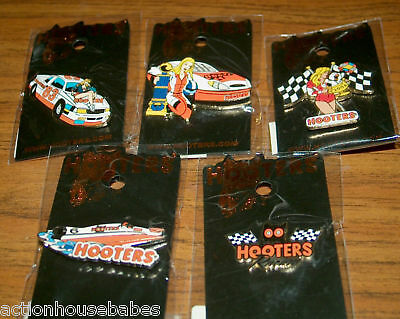 HOOTERS RESTAURANT GIRL RACING CARS/BOAT/FLAG/RACE/HOOTIE LAPEL HAT PIN LOT OF 5