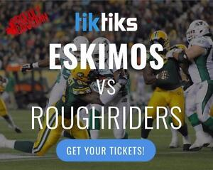 Edmonton Eskimos vs Sask Roughriders tickets! Buy in CAD$! Awesome prices. Lots of options!