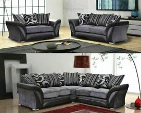 THE VAILABLE PRICE EVER🔵💖🔴NEW SHANNON SOFA- FABRIC & FAUX LEATHER LEFT/RIGHT CORNER   3 2 SEATER
