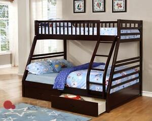 NEW YEARS SPECIALS ON NOW SINGLE OVER DOUBLE SOLID WOOD BUNK BED ONLY $399 FREE DRAWERS