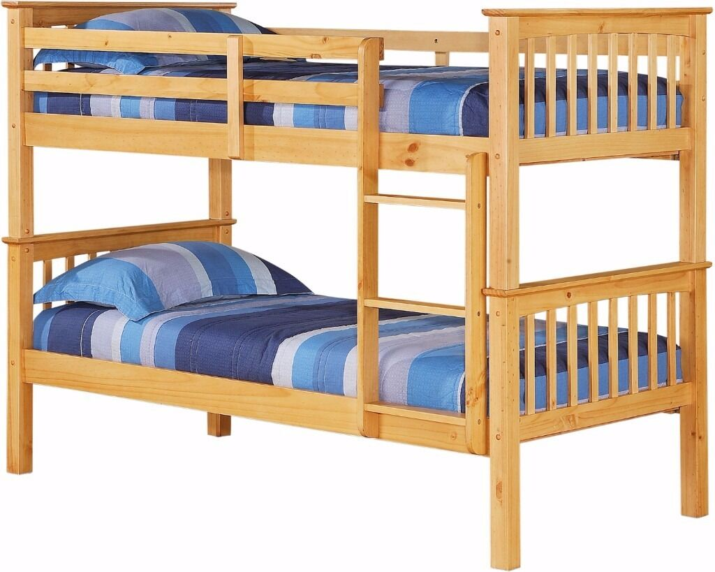 Cheapest Prices ever Strong Wooden Bunk Bed Frame With 2 x Mattresses