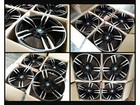 "T1-360* NEW 18"" INCH ALLOY WHEELS ALLOYS & TYRES FOR BMW 1 2 3 SERIES BLACK 437M READY TO USE"