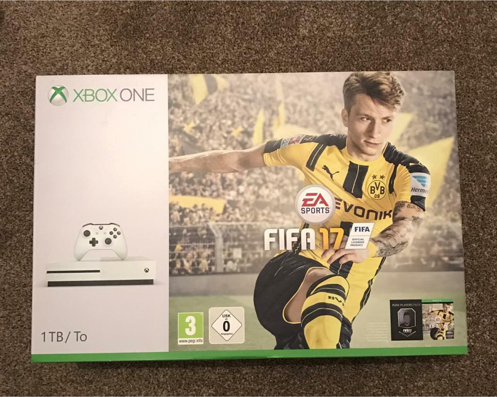 Xbox One S inc Fifa 17 Bundle (1TBin Guildford, SurreyGumtree - Brand new boxed Xbox One S with FIFA 17.I got this free with a laptop I bought from Currys but Im a PS4 gamer so wont give it the use it needs. This retails for £299.00 so £275.00 is a good deal. Do not ask for final price as this will sell quick...