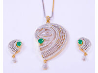 New Cubic CZ Indian Fashion Jewellery Gold Plated Pendant Earrings Party Set