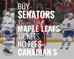 Senators vs Maple Leafs tickets Jan 20 We're like Ticketmaster/StubHub but no fees, CA$, cheaper, five star CDN company