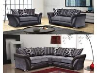 BRAND NEW SUPER LUXURIOUS AND COMFY SHANNON CHENILLE FABRIC + LEATHER CORNER OR 3 AND 2 SEATER SOFA