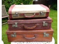 3 Vintage leather suitcases