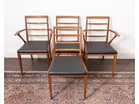 Four Mid-Century Mcintosh dining chairs, newly upholstered