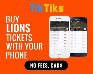 All BC Lions home games at the tip of your fingers! Get our 5 star app and pay NO FEES, CAD$, Mobile Entry no printing