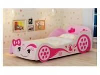 Girls pink Car Bed (full single bed size)