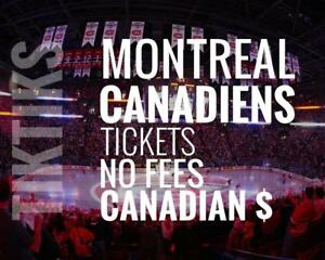 Montreal Canadiens Tickets - All Home Games - Easy to understand pricing because, NO FEES and in Canadian Dollars!