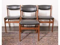 Mid-Century Danish Teak Dining Chairs by Erik Buch, set of 4