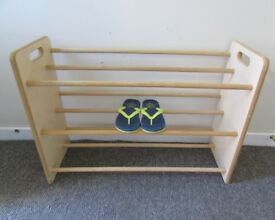 Wide Wooden Shoe rack in good condition, shoe storage FREE DELIVERY WITHIN LE3