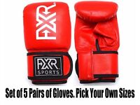 SET OF 5 PAIRS OF FXR SPORTS LEATHER BAG MITTS GLOVES S-M-L-XL. PICK YOUR OWN SIZES
