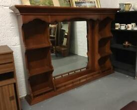 ** GRAND LARGE SOLID WOOD MANTEL MIRROR **
