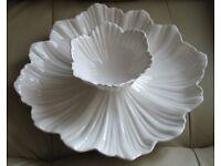 """White China 2 piece ' CHIP & DIP SET' large fluted decorative plate 14"""" dia for crisps/chips & bowl"""