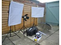 complete Fotobyte photographic lighting set with umbrellas, wireless remotes and cables