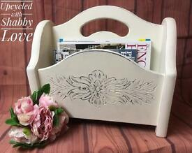 Shabby Chic Magazine Newspapers Holder Rack