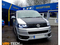 VW Transporter T5.1 fitted with Lower Sportline Bumper and Light Bar LED DRL Headlights