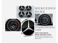 Original Set Of 4 Mercedes Benz Black Wheel Centre Hub Caps 75 MM Gloss Black