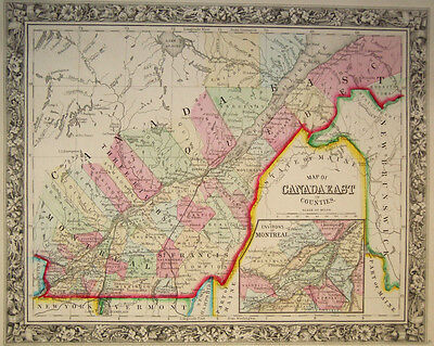 1860 Genuine Antique Map of Counties of Eastern Canada. A Mitchell