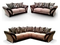 BRAND NEW SHANNON 3 AND 2 SEATER FABRIC SOFA SET, DUAL ARM CORNER SUITE IN BLACK/GREY, BROWN/BEIGE