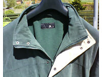 Dark green long gents jacket. Soft fabric, size large, BHS.