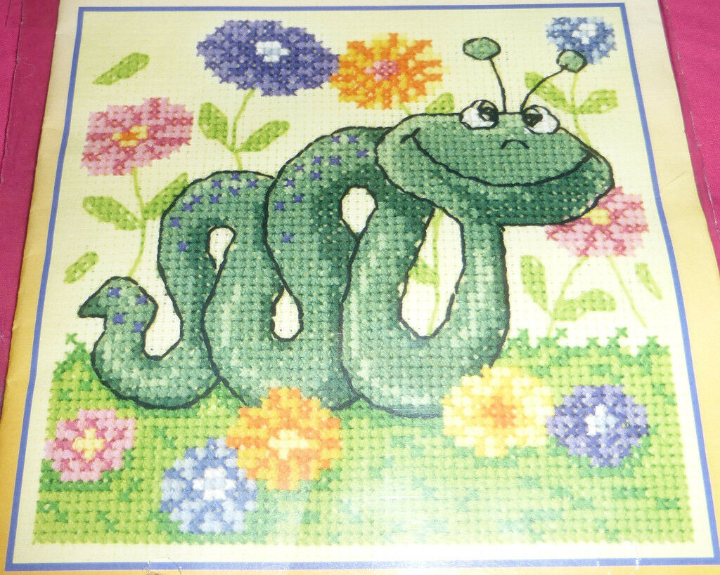 Heritage Crafts Cross Stitch Critters Snake Cross Stitch Kit, Ref: CCSN1181