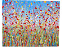LARGE ABSTRACT RED POPPY FLOWER NEW MODERN ART LANDSCAPE PAINTING ON 1 METRE CANVAS | Free Delivery