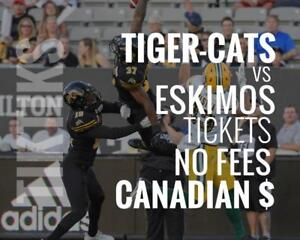 Tiger-Cats vs Eskimos Tickets August 23rd Tim Hortons Field. Canadian $, no fees, awesome customer, local company!