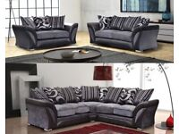 ==UK NUMBER 1 SELLING BRAND IS HERE== BRAND NEW SHANNON CORNER SOFA in LEATHER & CHENILLE FABRIC,