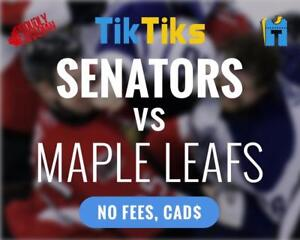 Senators vs Leafs tickets! Oct 21st Cheaper than StubHub/Ticketmaster NO FEES, CAD$ Instant delivery, e-ticket