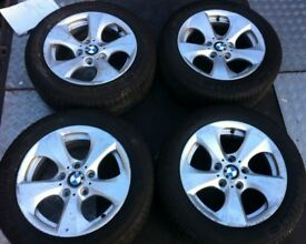"16"" Genuine BMW 320D Alloy Wheels & Tyres 205/55R16 E90 E91 E92 Z4 1 3 Series VW Transporter T5"
