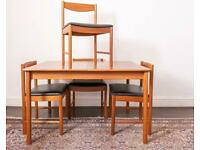 Mid-Century A.H Mcintosh Teak Dining Table and four chairs DELIVERY AVAILABLE