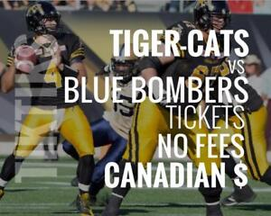 Tiger-Cats vs Blue Bombers Tickets June 29 Tim Hortons Field. Canadian $, no fees, awesome customer, local company!