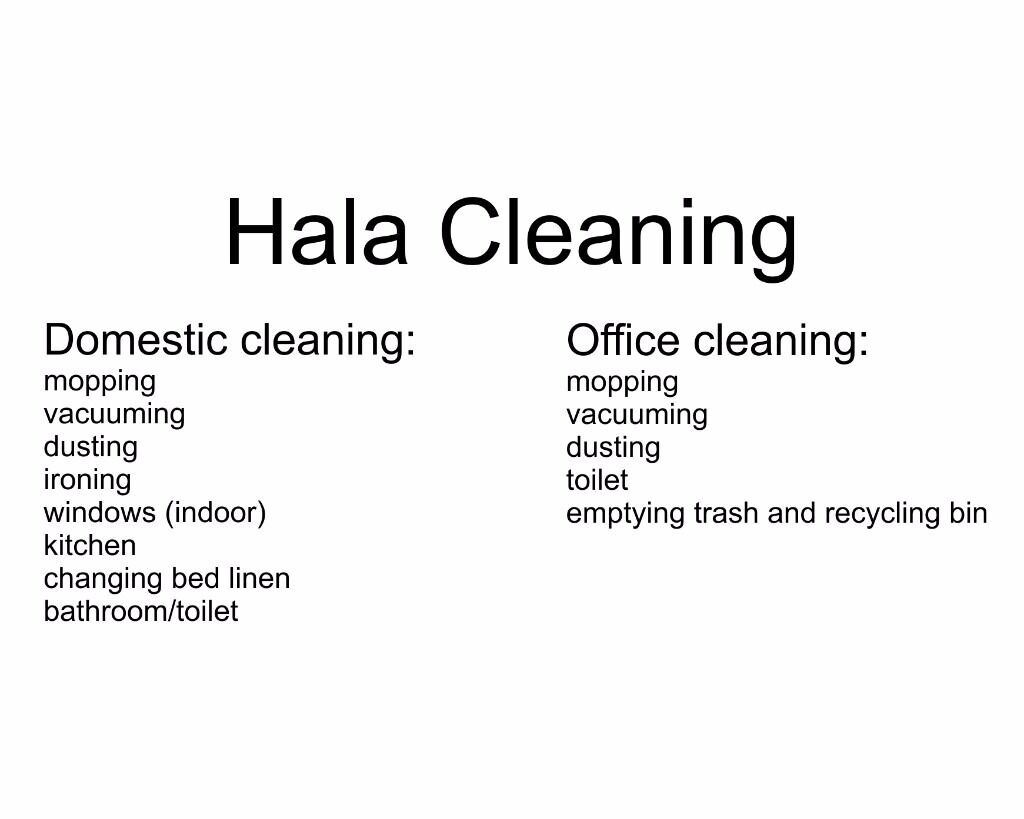 Hala - domestic, office cleaning. Regular or one-off basis.